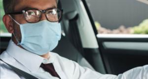 Healthcare worker in car