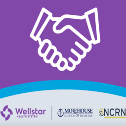 Wellstar's purple logo announcing collaboration with Morehouse's NCRN