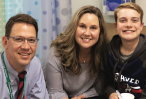 Dr. Vickery and first Palforzia patient Ian Bicknell and his mother.