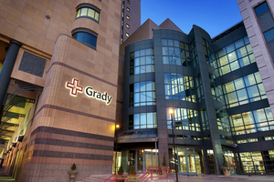 Grady health system buidling from the outside, a participant in the diversity cancer treatment tirals